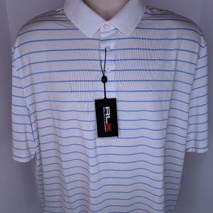 RLX Ralph Lauren XL Blue White Striped Golf Polo
